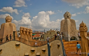 The chimneys on the roof of Casa Mila - known as espanta bruixes.