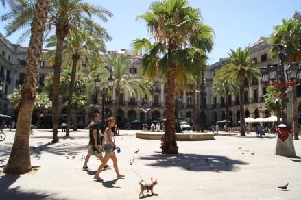 Placa Reial, the famous square of Barri Gotic just off La Rambla