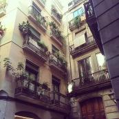 beautiful balconies in the little cobblestone backstreets