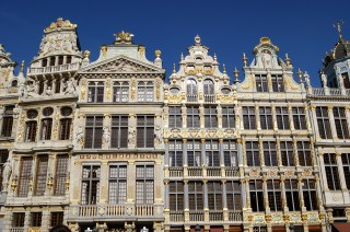The beautiful ornate guild hall buildings of Brussels' Grand Place