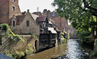 Canal view from Bonifacius Bridge in Bruges