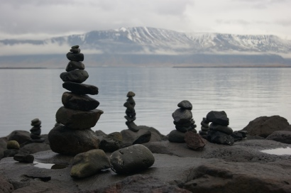 Rock piles along the sculpture & shore walk