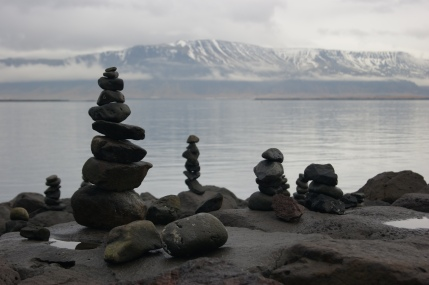 Rock piles along the sculpture & shore walk